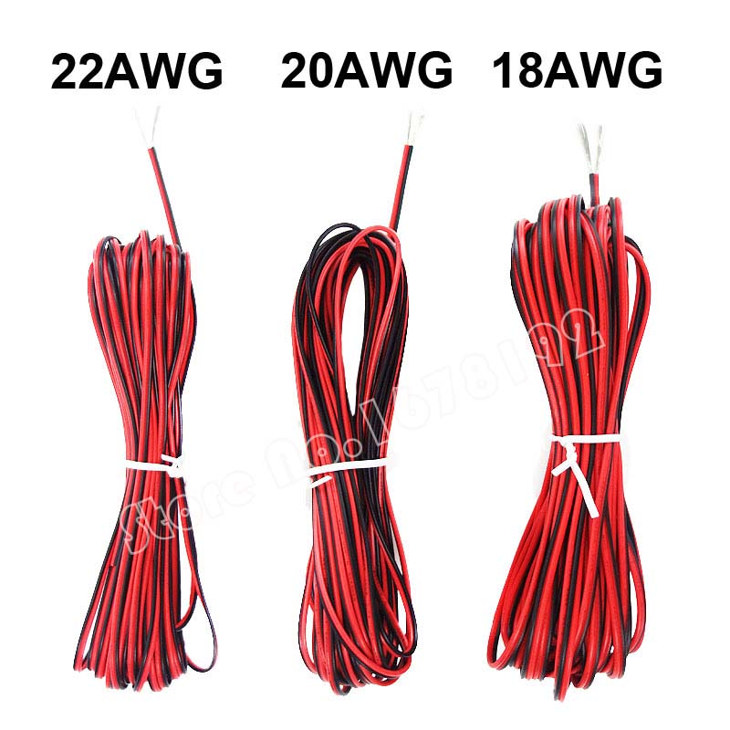 10M 20M 50M 2-Pin 18 20 22 AWG Electric Red Black Extension Wire Cable