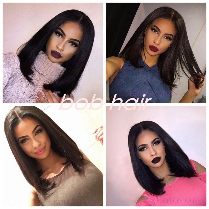 ФОТО Bob Hairstyle Straight Black Color Synthetic Lace Front Bob Wig African American Short Wigs Natural Black Female Fashion Bob Wig