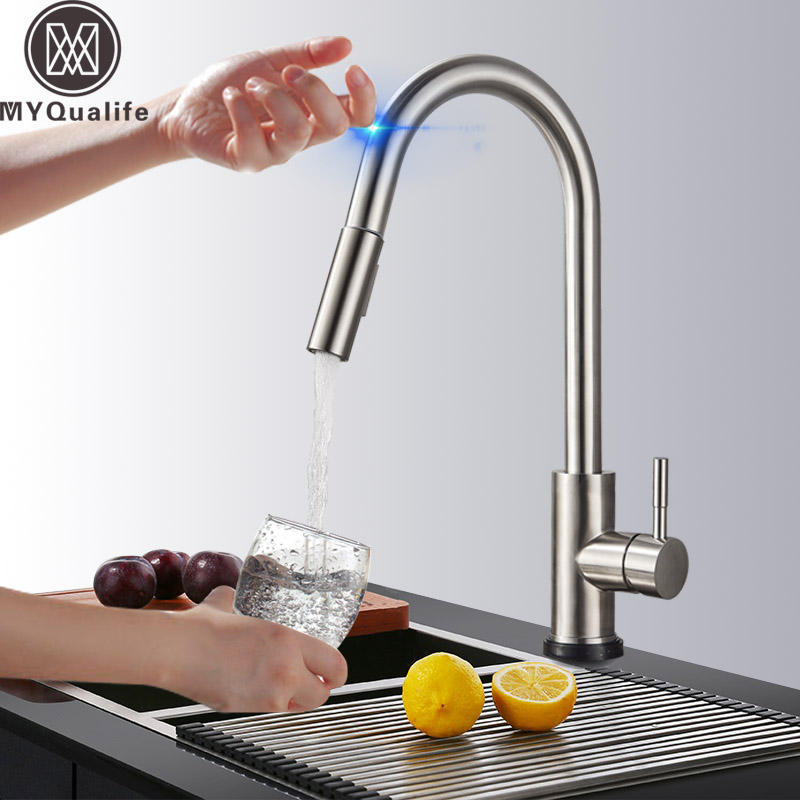 купить Pull Out Sensor Kitchen Faucet Stainless Steel Sensitive Touch Control Faucet Mixer For Kitchen Touch Sensor Kitchen Mixer Tap недорого