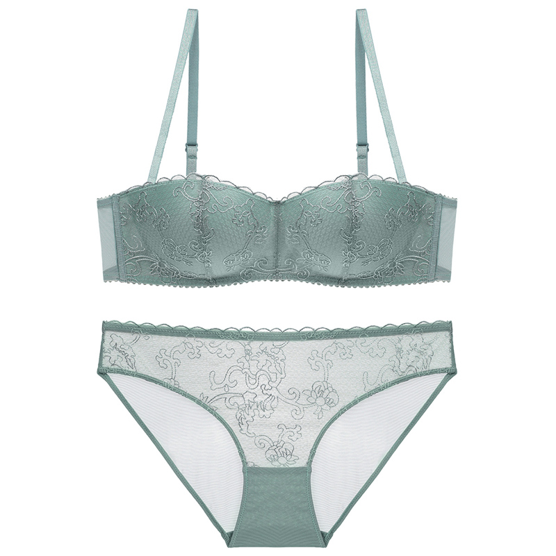 Lace half cup temperament girl bra set without steel ring embroidery ...
