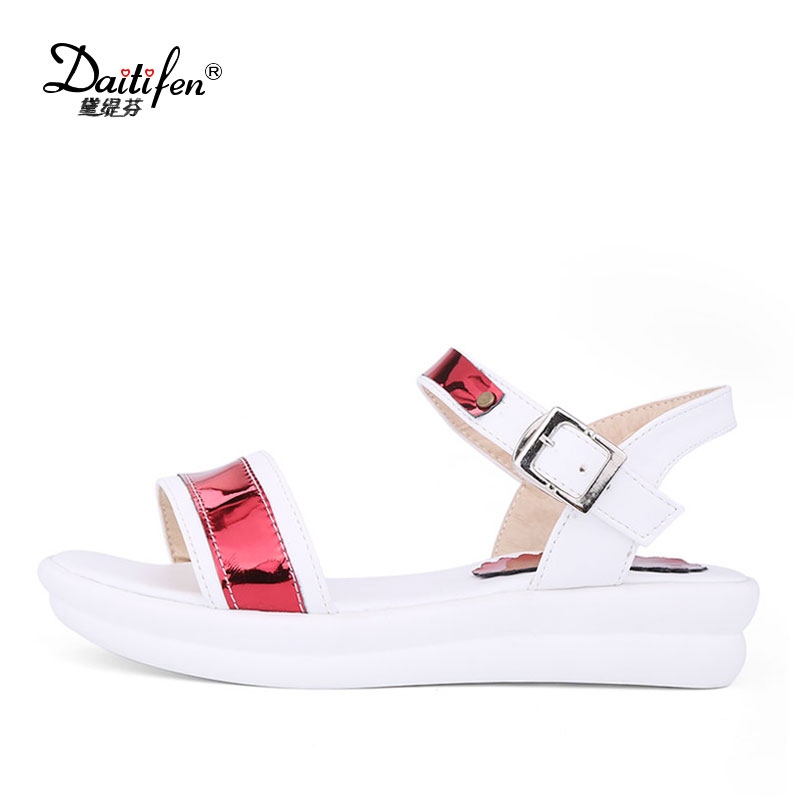 Daitifen Women Sandals Flat Casual Comfortable Sole Platform Sandals Women Mixed Bling Pink Silver Sandals Summer Shoes Beach