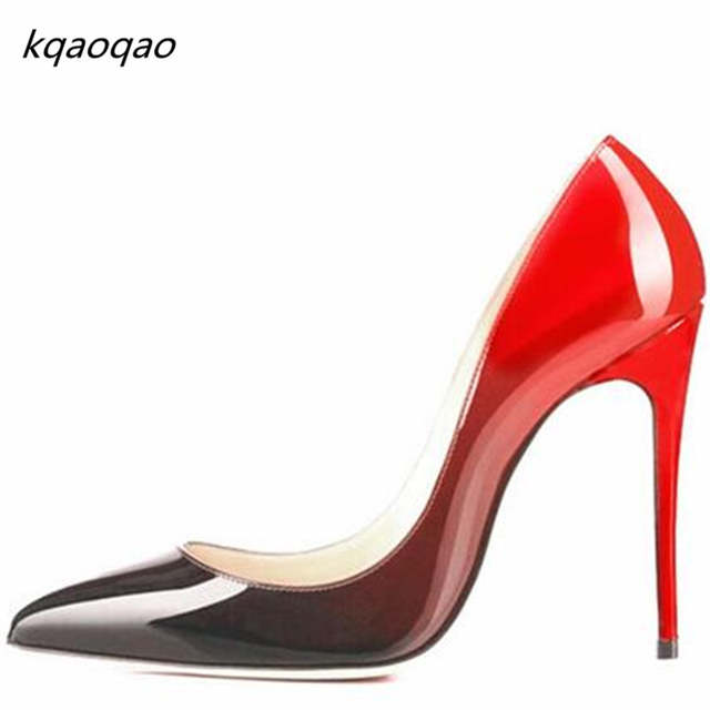 Black Red Patent Leather Sole Bottom Thin High Heels Women Pumps Pointed  Toe Wedding Shoes 67538fcf5793