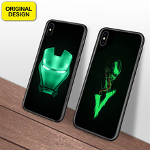 Deadpool Marvel Homem de Ferro Batman Veneno Luminosa Caixa De Vidro Para o iphone 6 7 8 Plus X Xs 6 s Max xr Vingadores Casos Tampa Do Telefone Coque(China)