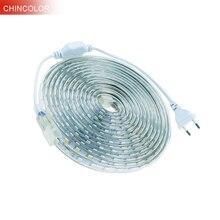 Bande lumineuse Led 220 V, 5050 Epistar puce avec prise électrique 1 2 3 4 5 7 8 9 15 20 25 mètre 60 Led/m étanche 7 couleurs