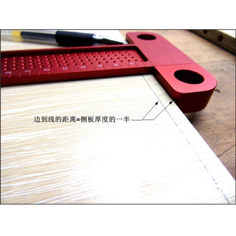 woodworking hole scriber ruler aluminum alloy T-shaped ruler woodworking mini scriber crossed Measuring tool Precision Cross-cal