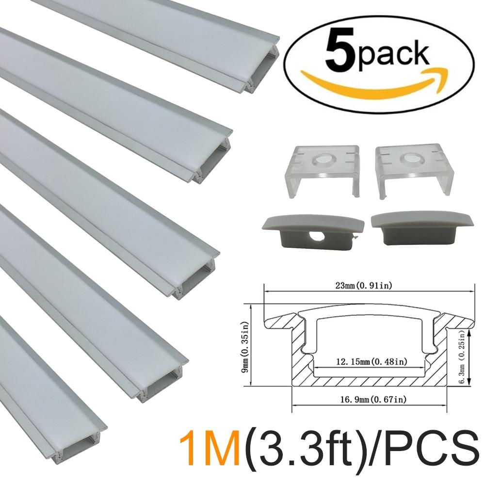 Led Light Bar 5-Pack 5x1m (3.3ft) Profil alumini me formë U-argjendi - Ndriçim LED
