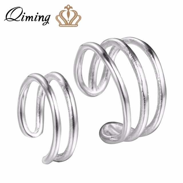 Qiming Silver 925 Small Clip On Earrings Simple Design Vintage Punk Style Double Cuff Fahion