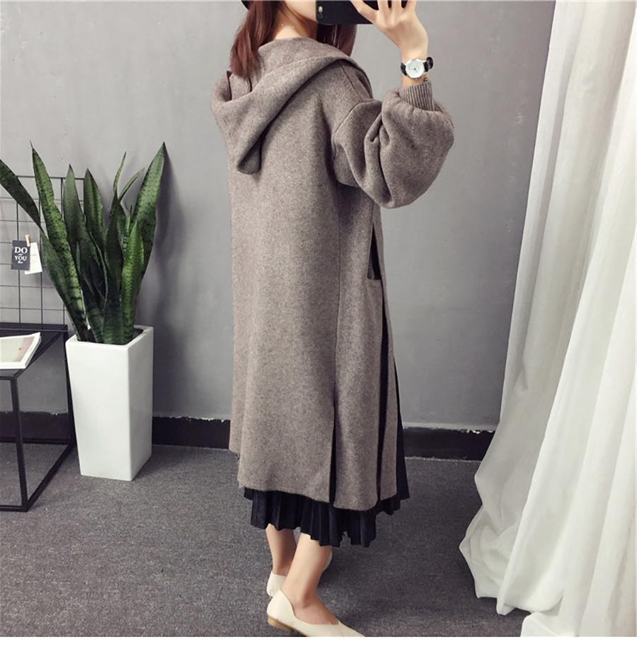 Autumn Winter Women Long Cardigans Hooded Sweaters Casual Knitted Outwear Puff Sleeves for Fashion Girls Female Warm Clothing (4)