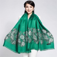 Spedizione Gratuita Verde Stile Cinese Tradizionale Crittografia Reversibile Two-Face Femminile Sciarpa di Cotone Stampato Rosa Lungo Scialle