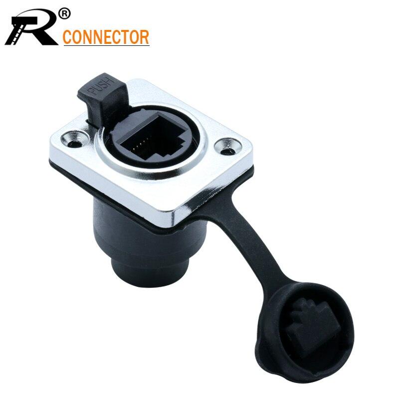 1pc RJ45 Plug Socket Screw Type CAT5E Waterproof Connector Panel Mount Metal Ethernet PCB Network Connector