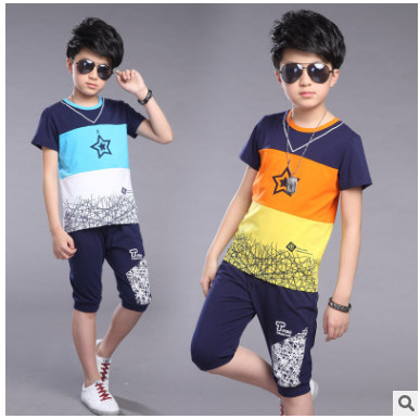Kids Boys clothes 2018 children suit summer clothes male baby summer short sleeved T-shirt +shorts two piece suit 3-14 years 2017 new pattern small children s garment baby twinset summer motion leisure time digital vest shorts basketball suit
