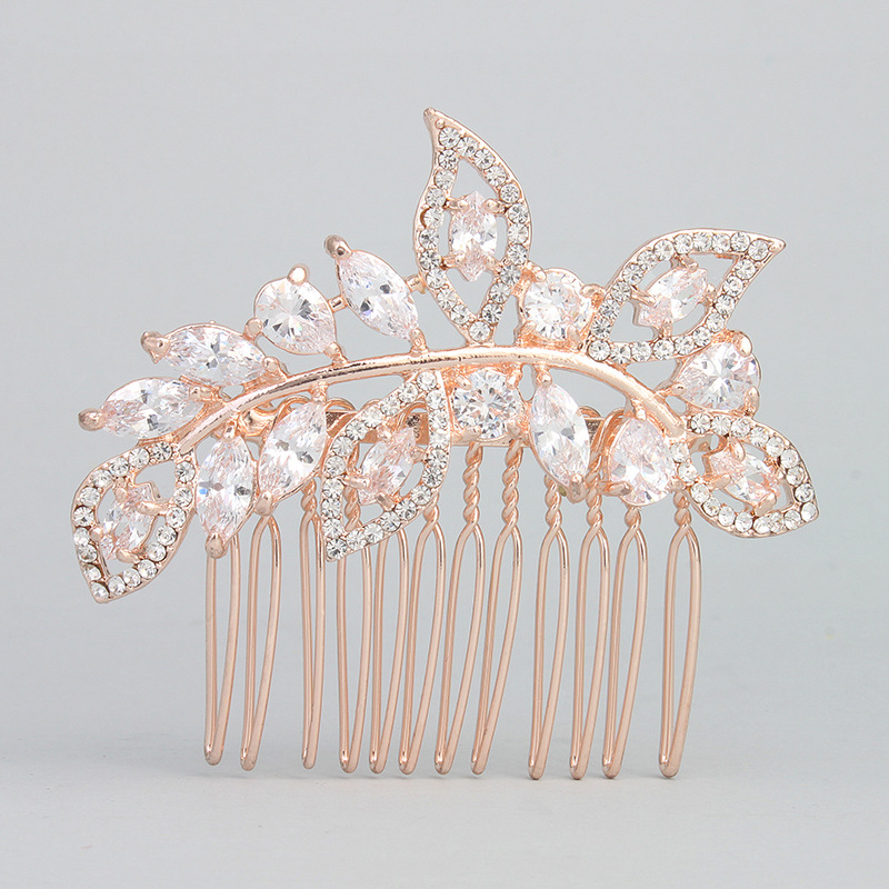 SLBRIDAL Rose Gold Color Rhinestones Crystal Prong Setting Cubic Zircon Wedding Hair Comb Bridal CZ Hair Accessories Bridesmaids недорого