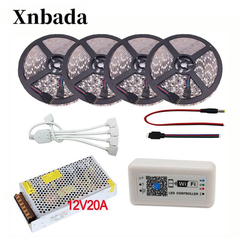 5050 SMD RGB Led bande ensemble 5 M-20 M 60led/m DC12V Led lumière Flexible + WIFI 373 RGB Led de contrôle + adaptateur secteur livraison gratuite