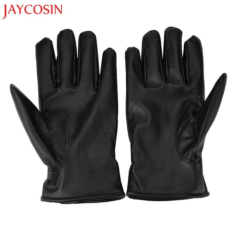 JAYCOSIN Men's Genuine Leather Gloves Real Sheepskin Black Touch Screen Gloves Button Fashion Brand Winter Warm Mittens Feb 2