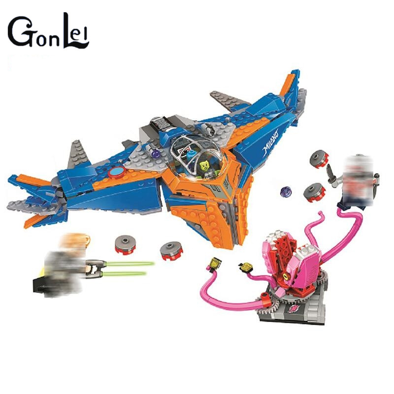 (GonLeI) Super Heroes The Milano vs. The Abilisk building blocks DIY Educational bricks toys for children Compatible with 76081 building blocks super heroes back to the future doc brown and marty mcfly with skateboard wolverine toys for children gift kf197