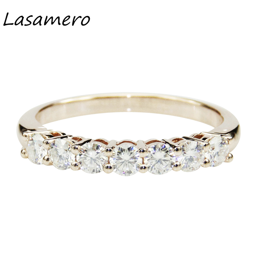 LASAMERO Round Cut 3mm Pave Set Certified Moissanites Ring Solitaire 14k 585 White Gold Engagement Wedding Ring Fine Jewelry