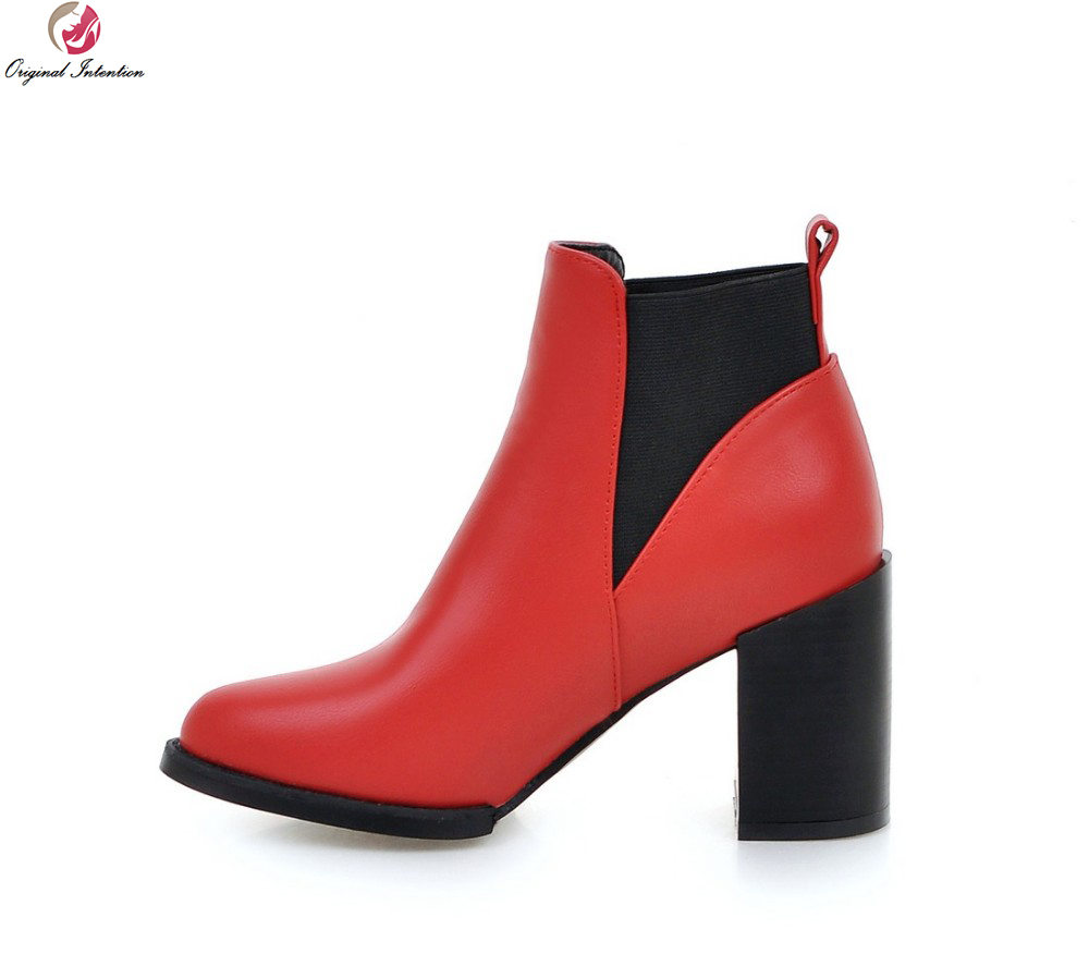 Original Intention Women Ankle Boots Popular Pointed Toe Square Heels Boots Nice Black Grey Red Shoes Woman US Size 4-10.5 стоимость