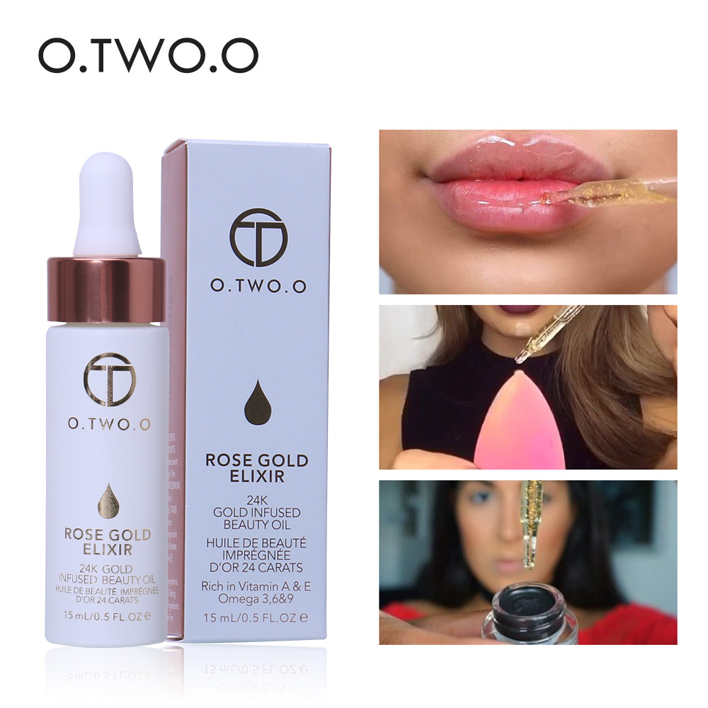 Original O.TWO.O Primer 24K Gold Infused Beauty Oil Face Lips Make Up Base Moisturizer Eas