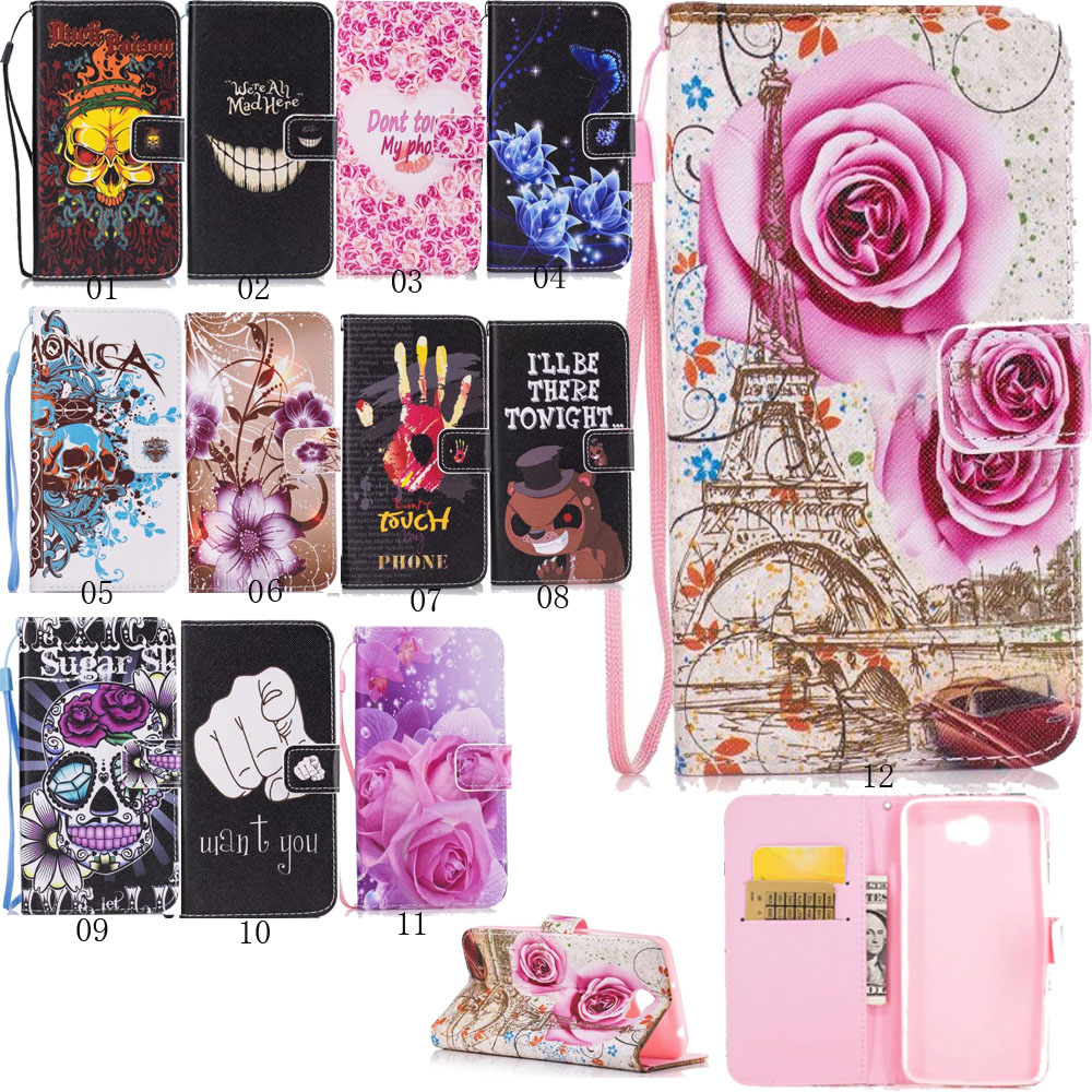 Book Style Painted Flower Bear Flip Card Salot Wallet Pu Leather Cover Soft  Case With Strip