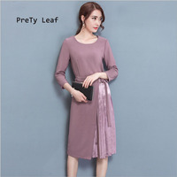 2017 Autumn Korean Slim Women S Temperament Waist Was Thin Sleeves Sleeves Dress Women