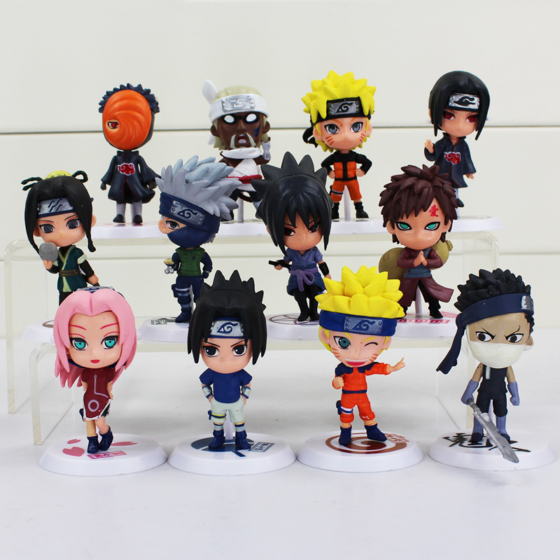 6 unids/lote 7cm figura de animé Naruto juguete Sasuke Kakashi Sakura Gaara Itachi Obito Madara asesino Mini abeja modelo muñeca para los niños