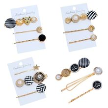 3Pcs/Set Retro Palace Ladies Hair Clip Plaid Houndstooth Cloth Round Button Hairpin Jewelry Faux Pearl Drop Oil Styling Barrette
