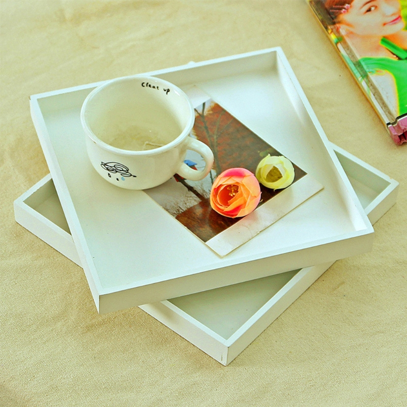 Modern White Wood Tray Food Serving Makeup Storage Fruit Plate Photo Props Candy Snacks Containers Storage Trays Box Plate Dish