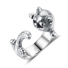 GOMAYA New Arrivals 925 Sterling Silver Lovely Cat Rings for Women Adjustable Size Ladies Animal Open Ring Vintage Jewelry