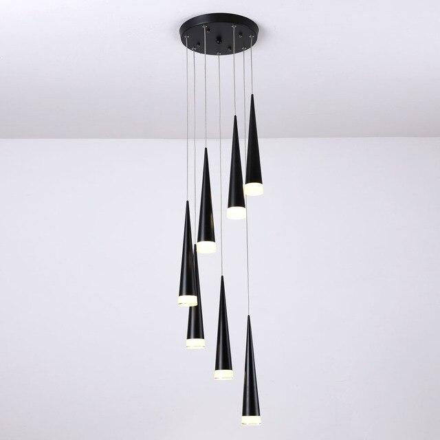 Led Trap Hanglampen Modren Villa Binnenverlichting Hanglamp Etalage Hanger Lampen 3/5/7/10/12/15 Hoofden Lamparas Luminaria