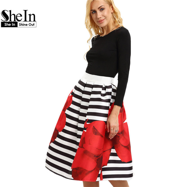 SheIn Womens New Summer Style Elegant Skirts Fashion Ladies New Arrival Rose Print Striped Knee Length Flared Skirt