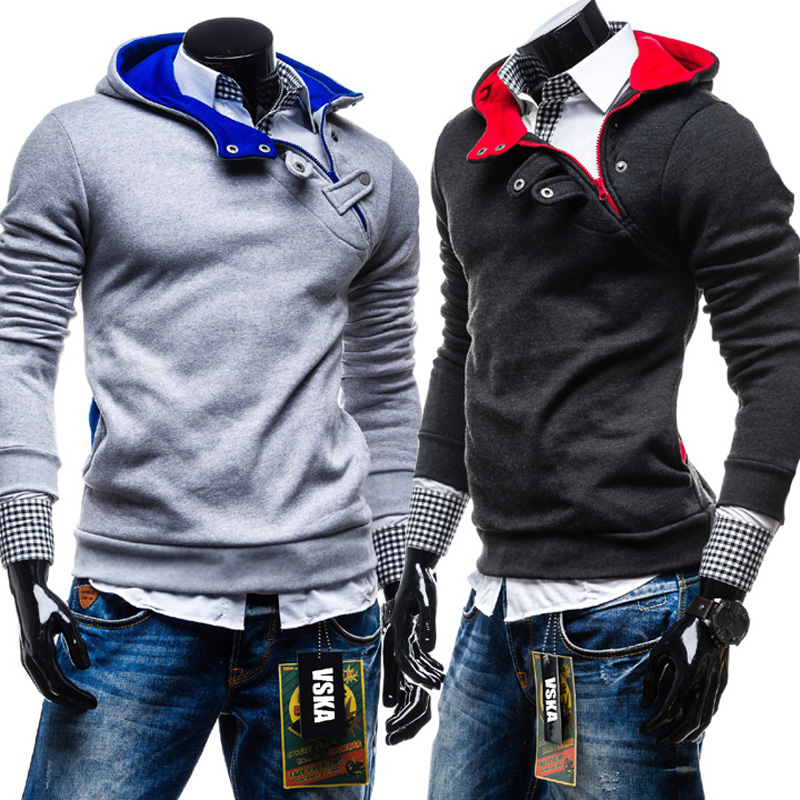 Free Shipping Mens Hooded Sweatshirts Buttoned Chest Oblique Design Of High-quality Explosion Models Coat Size M-XXL