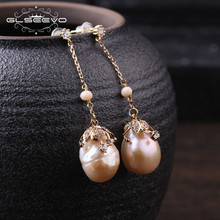 hot deal buy glseevo natural fresh water baroque yellow pearl long water drop earrings for women bead earrings handmade fine jewelry ge0319b