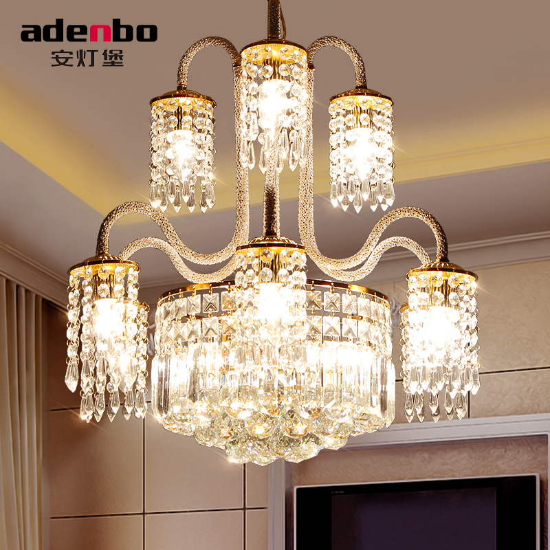 Dining Room Modern Crystal Chandeliers: Modern Gold LED Crystal Chandeliers Lighting Fixtures For