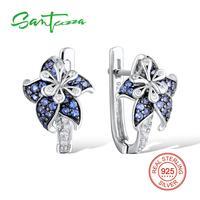 Silver Flower Earrings For Woman Blue White CZ Diamond Earrings Pure 925 Sterling Silver Party FashionJewelry
