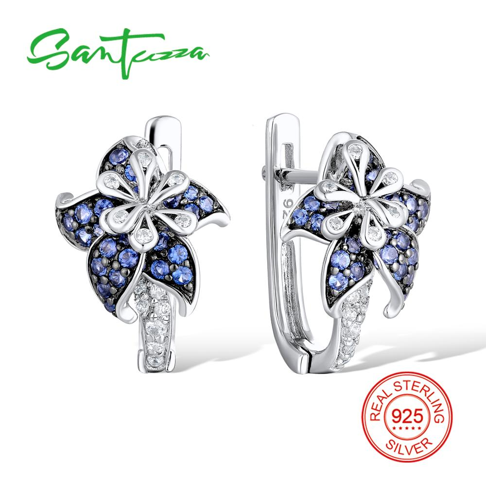 Silver Flower Earrings for Woman Blue White Cubic Zirconial Stone Pure 925 Sterling Silver Stud Earrings Fashion Jewelry