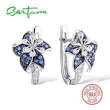 Серебряный цветок Серьги для женщины сине-белые кубической zirconial камня чистый стерлингового серебра 925 пробы Серьги-гвоздики Модные украшения