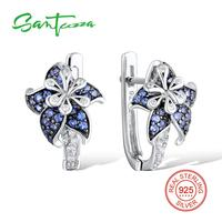 Silver Flower Earrings For Woman Blue White CZ Diamond Earrings Pure 925 Sterling Silver Party FashionJewelry