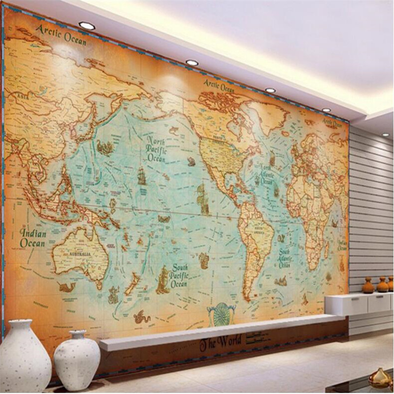 beibehang wallpaper office sofa background retro HD world sailing map large mural wallpaper for walls 3 d wall papers home decor