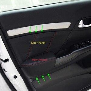 Image 1 - 4pcs Microfiber Leather Interior Door Panels Guards / Door Armrest Panel Covers Trim For Honda Civic 9th Gen 2012 2013 2014 2015