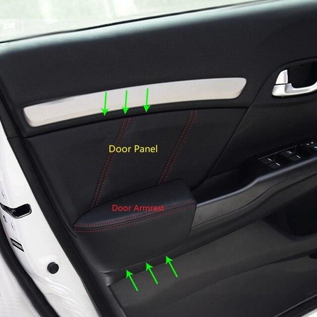 4pcs Microfiber Leather Interior Door Panels Guards / Door Armrest Panel Covers Trim For Honda Civic 9th Gen 2012 2013 2014 2015