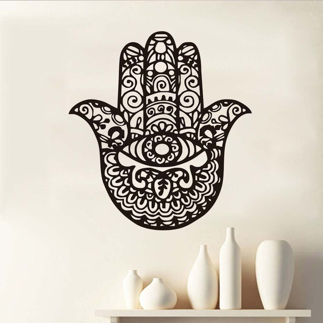 Yoga Hamsa Hand Wall Sticker Hollow Out Home Decor Art Self Adhesive Waterproof Wallpaper Vinyl