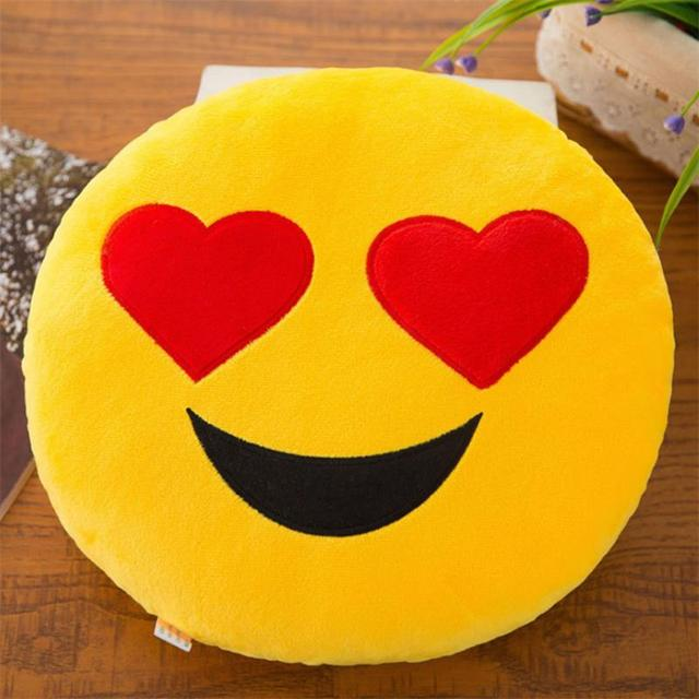 New Smiley Face QQ Emoji Pillows Soft Plush Emoticon Round Cushion Home Decor Cute Cartoon Toy Doll Decorative Throw Pillows 5