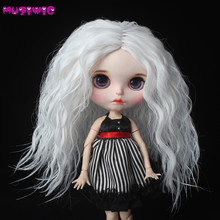 Blyth Doll Hair Heat Resistant Wire White Afro Curly Wig for Blyth Dolls цена 2017