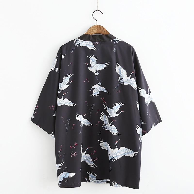 Verano Jiu Chaqueta 2017 Japonés Kawaii Cardigan Sexy Harajuku Grullas Aves Maxi Jitsu Mujer Camisa Black Kimono Blusa dw4qwRnf