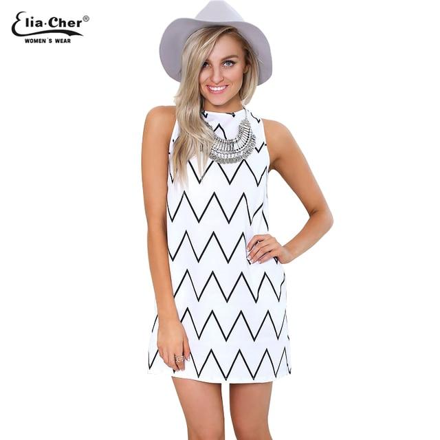 d3884ebeefdc Stile di estate in bianco e nero vestito causale plus size abbigliamento  donna chic elegante moda