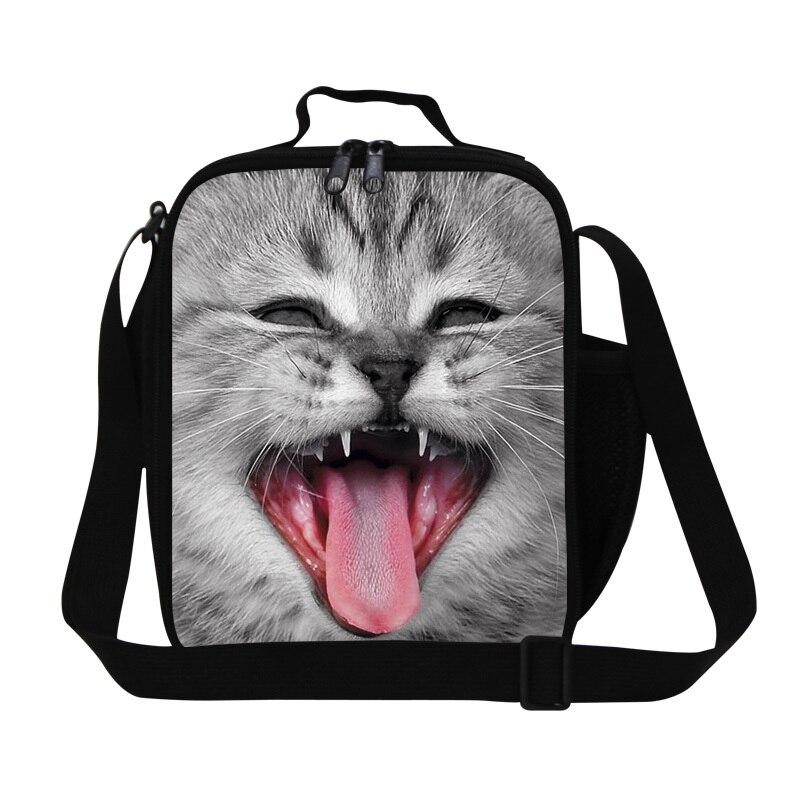Cool Cat Animal design lunch bag for kids,insulated lunch box bag for boy messenger picnic cooler bag for girls bolsa termica