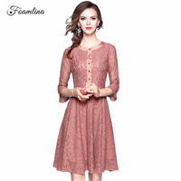 Foamlina Sexy Women's Lace Dress 2017 New Fashion Autumn O-neck 3/4 Sleeve Front Buttons Vintage Style Casual Party Dresses