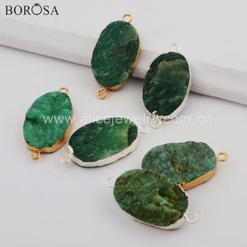BOROSA 5 uds oro nuevo/Color plata Natural Australia Jades conector gemas piedras dobles para pulsera joyería hecha a mano G1748