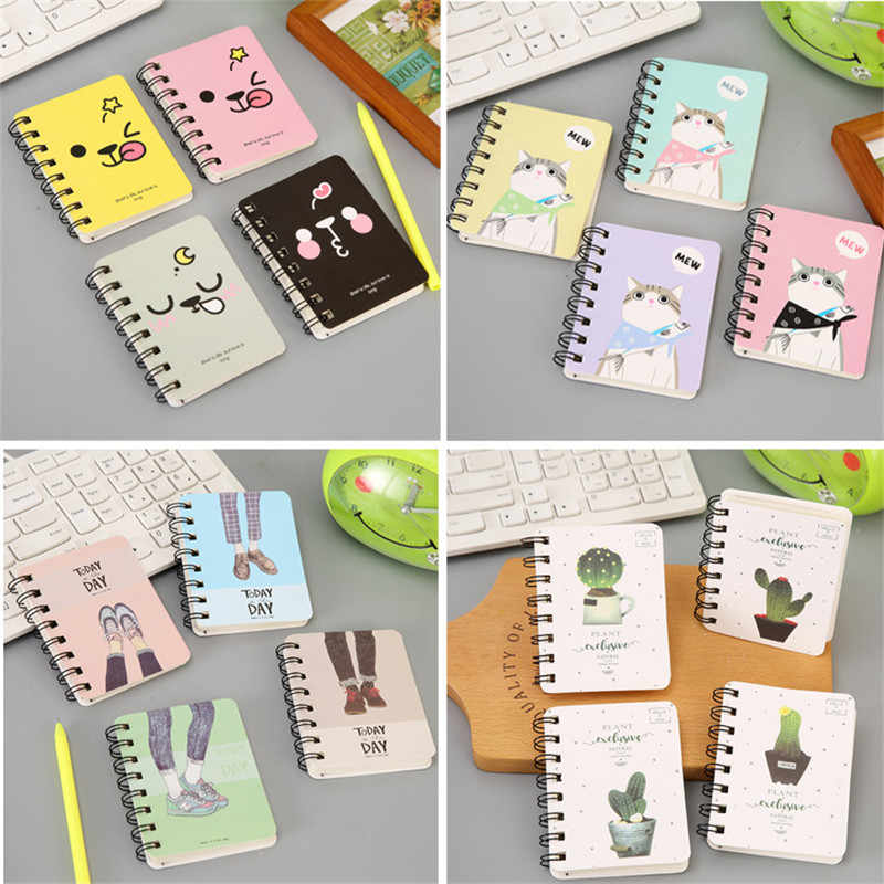 1 Buah 10*8 Cm Lucu Mahasiswa Rollover Coil Notebook Saku Portabel Notepad Kartun Notebook Sekolah Office Supplies