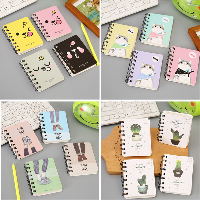 1pcs 10*8cm cute student rollover coil notebook portable pocket notepad cartoon notebook school office supplies